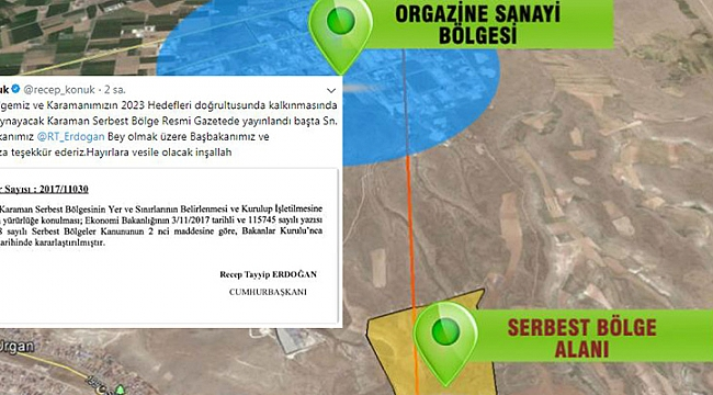 KARAMAN SERBEST BÖLGE KARARI RESMİ GAZETEDE