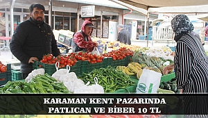 KARAMAN KENT PAZARINDA PATLICAN VE BİBER 10 TL