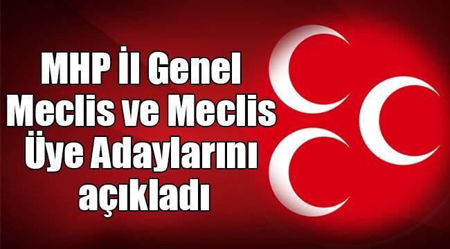 MHP İl Genel Meclis ve Meclis Üye Adaylarını açıkladı