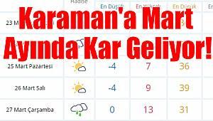 Karaman'a Mart Ayında Kar Geliyor!