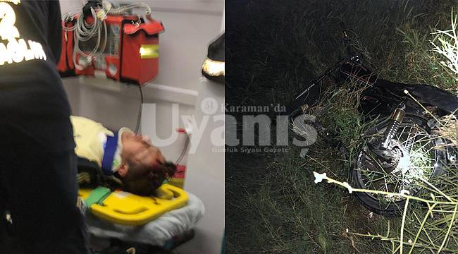 Karaman'da motosiklet tarlaya uçtu 1'i ağır 2 yaralı