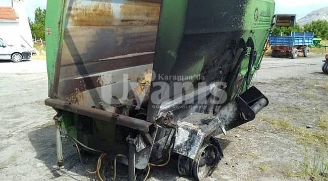 Yangında tarım aletleri zarar gördü
