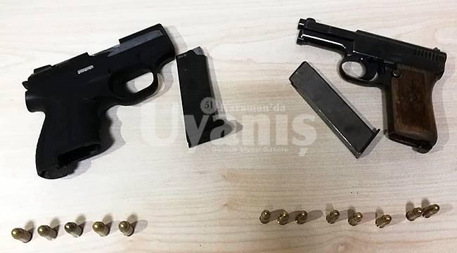 Karaman'da polis uygulamasında tabanca ele geçirildi