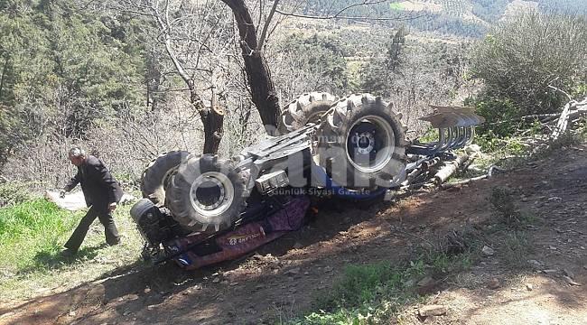 Karaman'da devrilen traktörün sürücüsü öldü
