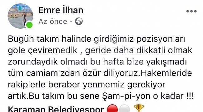 Karaman Belediyespor kaptanı özür diledi