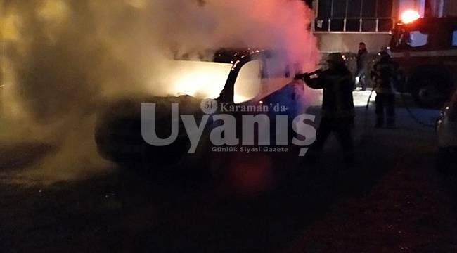 Karaman'da Araç Kundaklandı
