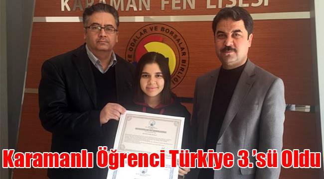 Karamanlı Öğrenci Türkiye 3.'sü oldu