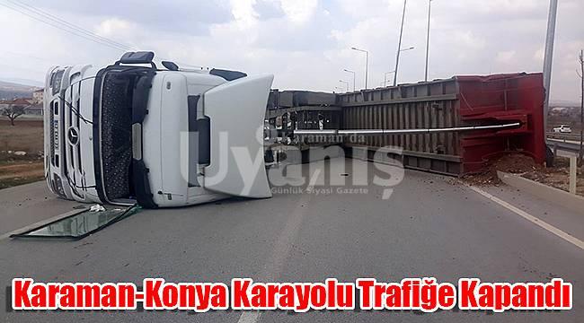 Karaman-Konya karayolu trafiğe kapandı