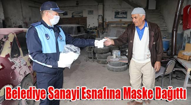 Belediye Sanayi Esnafına Maske Dağıttı
