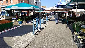 Semt pazarında barikatlı önlem