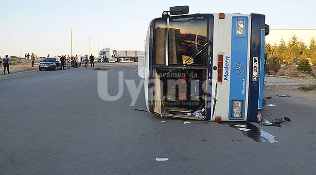Karaman'da Çekici İle Servis Otobüsü Çarpıştı