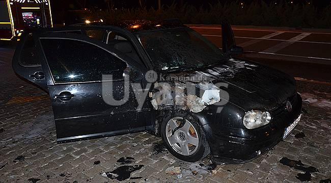 Karaman'da seyir halindeki araç yandı