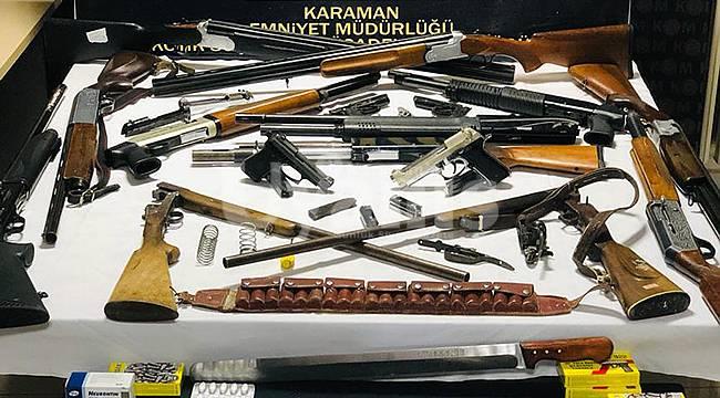 Karaman'da polis cephanelik ele geçirdi operasyonda 4 kişi tutuklandı