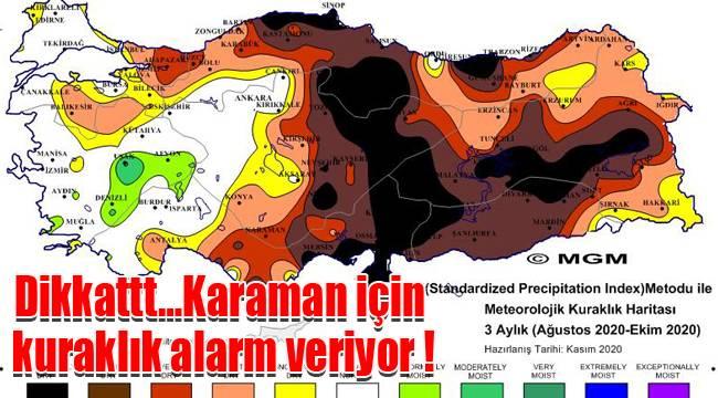 Metoroloji verilerine göre Karaman 'Çok Şiddetli Kuraklık' Riski altında