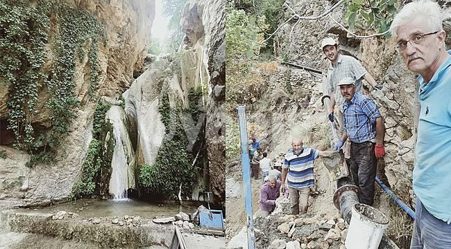 Duyarlı vatandaşlar su uçtu şelalesinin çevre düzenlemesini yaptı