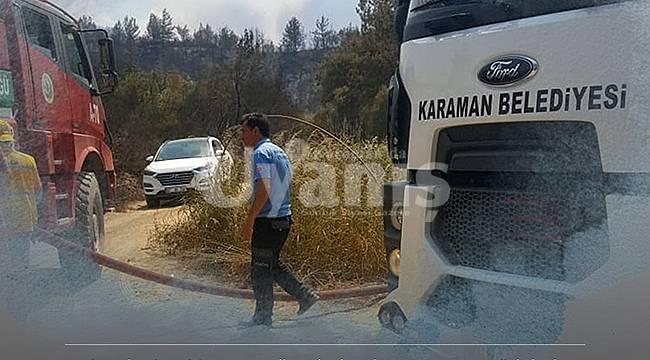 Karaman ekibi Manavgat yangınına müdahale ediyor