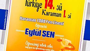 YKS Sayısal'da Türkiye 14.sü, Karaman 1.si L.Elvan TOBB Fen Lisesi'nden