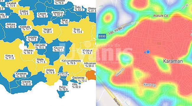 Karaman Aşı Haritasında Mavi'ye Yükseldi, Vaka Haritasında Kırmızı'da