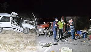 Traktör römorkuna çarptı, hurdaya dönen otomobilden sağ çıkıp kaçtı