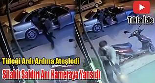 Karaman'da iş yerine silahlı saldırı anı kameraya yansıdı