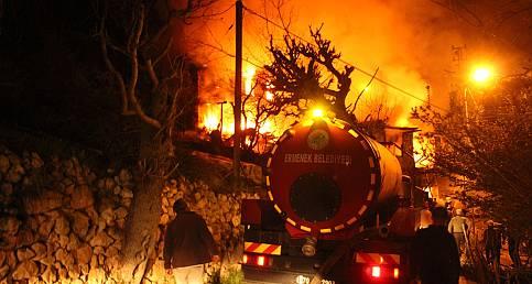 Ermenek ilçesinde büyük yangın
